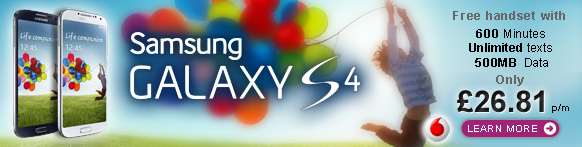 Order your Samsung Galaxy S4 now. Free from £34.83per month