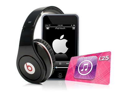 Free Beats Studio Black headphones, iPod Touch + iTunes voucher